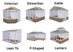 Conservatory styles.  Thinking the P shaped would be good, could have living space in part and greenhouse in part, or maybe two Edwardian, one connected to the house, one separate but easy to get to, for greenhouse. #conservatorygreenhouse