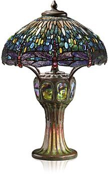 Tiffany Studios 'Dragonfly' leaded glass, turtle-back tile, mosaic, and bronze table lamp, circa 1906.  (I have a copy of this exact lamp in my living room!)