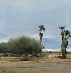 Desert Palms, watercolor by Dean Mitchell