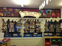 The Great Fire of London Display, Classroom Display, class display, history… Classroom Art Projects, History Classroom, Art Classroom, Classroom Ideas, Classroom Resources, Class Displays, School Displays, Classroom Displays, Primary History
