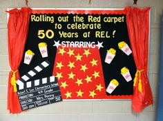School bulletin board ~  Roll out the RED carpet!    Popcorn and Movie themed!