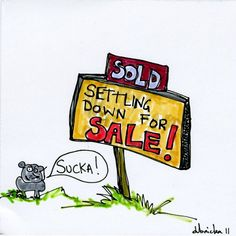 """""""Settling Down For Sale"""", ink and marker on paper, size unknown, 2011"""