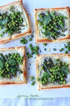 Spring tarts with asparagus, peas and mint