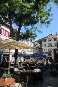 Market Place, Weinheim, Germany  This was such a beautiful town - it couldn't have looked more picturesque even if Disney had created it.