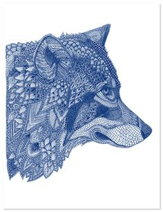 By the talented British graphic designer and illustrator Claire Scully. All her artwork is made up of tiny geometric patterns, and I couldn't go past this stunning wolf.