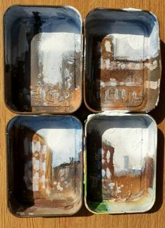 London East End 1960s. No. 3 Original Mixed Media Painting on Metal Tins | eBay