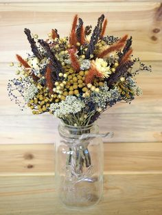 Country Style DRIED FLOWER Bouquet - For a Rustic Country Wedding or Your Farmhouse. $17.00, via Etsy.