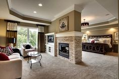 """""""Rise and shine! Master suite with sitting room and 2-sided fireplace in Exclusive House Plan 73356HS  #adhouseplans #architecturaldesigns #houseplan…"""""""
