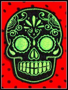 Mexican Day of the Dead Sugar Skull Patch Embroidery by lizmiera, $5.00