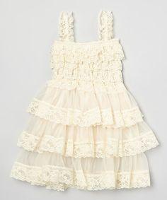 Love this Vintage Beige Tiered Lace Dress - Infant, Toddler & Girls on #zulily! #zulilyfinds