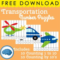 Counting by 10's and Counting 1 to 10 (20 total puzzles) #preschool #transportationtheme