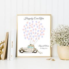 Customized Just Married Car Fingerprint Balloons Guest Book for Wedding.  A fun activity and must have guest book alternative for your wedding, birthday party, marriage anniversary, or any occasions. Just prepare some ink pads for your guests to leave their thumbprints as the balloons, and frame this memorable poster at home!  PLEASE NOTE: -This listing is a purchase of a High Resolution (300 dpi) Digital JPG Printable File ONLY. You can take it to your local print shop for a quick and easy…