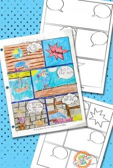 Kids can design their own comic books!  Use these free printables and your imagination.