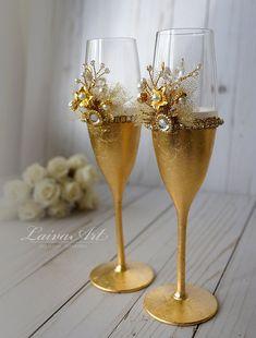 Gafas de flautas de champán Champagne de la boda de la por LaivaArt