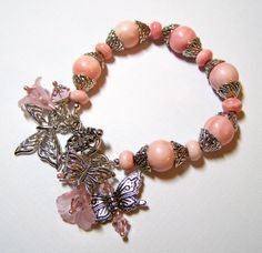 Beaded Bracelet, Pink Bracelet, Butterfly Bracelet, Lucite Flower Bracelet...Kissed Awake $44.00