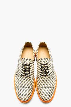 CARVEN Tan & White Textile Derby Shoes