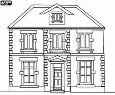 Herenhuis of landhuis van twee verdiepingen kleurplaat