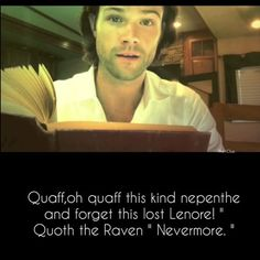 """New video of Jared reading """"The Raven"""" by Edgar Allan Poe, for Astor Benefit Credit : The Raven- Celebrity Readings for Astor Benefit by Astor Serviceson YouTube"""