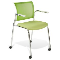 The Jansen Visitor Chair is available with a black backrest, frame and arms with either a black or red seat or a white backrest frame and arms with a green or orange back and seat. This modern guest chair has a mesh back for increased aeration, a form-fitting contoured seat and is lightweight and stackable. $199.00
