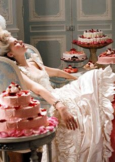 """Still image from the movie """"Marie Antoinette"""", with Kirsten Dunst in the title role.  Sofia Coppola wrote and directed, and the whole film is softly and sweetly lush and decadent."""