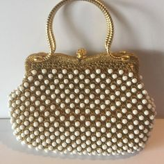 Vintage Gold Woven Thread White Faceted Beads Handbag Purse Metal Handles #Unbranded #Vintage