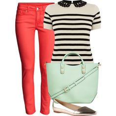 This is the perfect casual but cute look and love the color palette here.  Not a fan of the purse, but shoes, top and pants are a great combo!