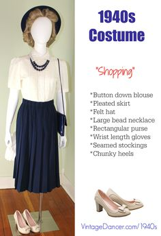 1940s costume: A pleated A line skirt is a classic style perfect for a 1940s look. Shop skirts at vintagedancer