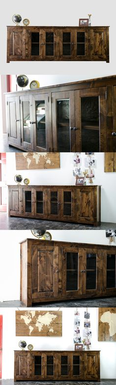 A whimsical country version of a row-locker credenza, this unique sideboard affords both practical storage and timeless character. Place it under a TV or on an empty wall and you will find your room transformed.