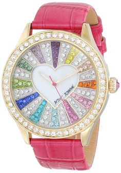 Betsey Johnson Women's BJ00131-29 Multi-Colored Crystal Set Dial Watch
