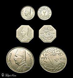 :::: ♡ ♤ ✿⊱╮☼ ☾ PINTEREST.COM christiancross ☀❤•♥•*[†]⁂ ⦿ ⥾ ⦿ ⁂  ::::King Fouad's 2, 2.5 & 10 Silver-Milliemes.