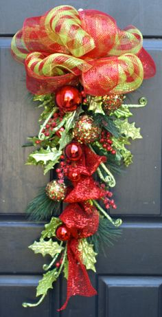 swags wreaths christmas | Items similar to Christmas Wreath, Christmas Swag, Whimsical ...