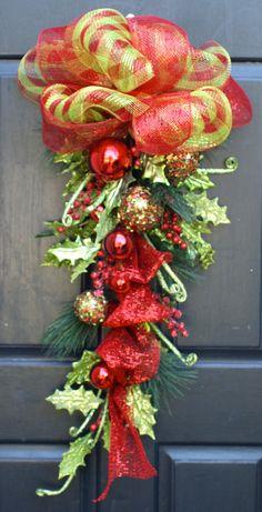 Christmas Wreath, Christmas Swag, Whimsical, Glittered Berries and Glittered Leaves. $85.00, via Etsy.