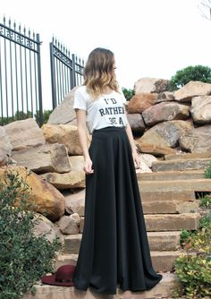id rather be a mermaid tee, high waisted maxi skirt