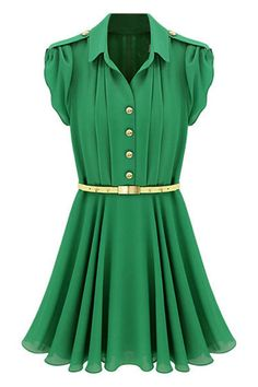 Solid Color With Belt Ladylike Style Shirt Collar Short Sleeve Women's Chiffon Dress Green Chiffon Dress, Chiffon Shirt Dress, Green Dress, Chiffon Dresses, Belted Dress, Pleated Shirt, Ruffled Dresses, Ruffled Shirt, Collar Dress