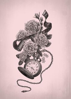 Film and a pocket watch. This would make for a great sleeve tatoo. Rose Tattoos, Flower Tattoos, New Tattoos, Tatoos, Henna Tattoos, Skull Tattoos, Clock Tattoos, Temporary Tattoos, Tribal Tattoos
