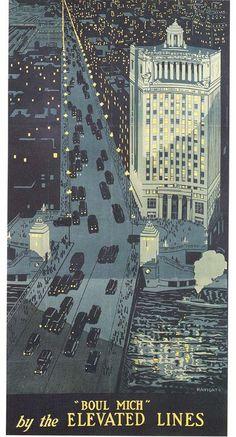 Art deco Chicago poster