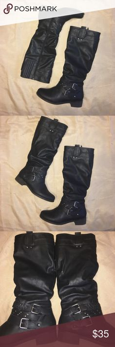 Black Moto/riding boots with silver buckles 🦃DAY SALE🍁🍁🍁EUC.  Worn less than 10 times.  Have way too many boots!  Tiny scuff on one toe.  Can be covered with a dab of shoe polish.  Otherwise these little dolls are pristine.  Man made material. XOXO Shoes Combat & Moto Boots
