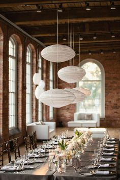 Hanging lanterns in a cool venue.