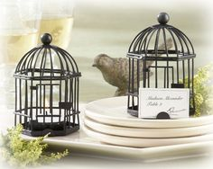"""""""Love Songs"""" Birdcage Tea Light/Place Card Holder. So entrancing, you can almost hear the joyful sounds of a songbird celebrating your special day! As a wedding favor or wedding table decor, the """"Love Songs"""" Birdcage Tea Light/Place Card Holder is designed to bring a charming vintage touch to your reception tables."""