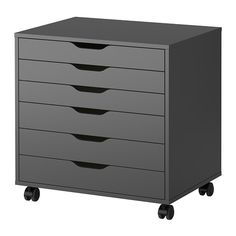 "ALEX Drawer unit on casters IKEA. Inside of the drawers are 16.75"" deep, the top three drawers are 2.5"" tall and the bottom three are 3.5"" tall"
