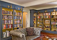 """Crisp Architects, """"Weekend Getaway"""" traditional home office -- I like the two-toned shelves and the library lights."""