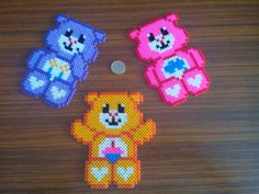 Care Bears hama perler beads by Sonia Angie Melt Beads Patterns, Beading Patterns, Care Bears, Perler Bead Art, Perler Beads, Crafts To Make, Crafts For Kids, Pearl Beads Pattern, Hama Beads Design