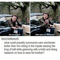 Sam Winchester wait are they in the middle of nowhere if he is doing research on his computer with wifi that is very Sam