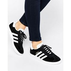 adidas Originals Black Suede Gazelle Sneakers ($100) ❤ liked on Polyvore featuring shoes, sneakers, black, chunky black shoes, black lace up sneakers, black shoes, lacing sneakers and black trainers