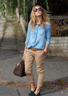 cf829a7e0d cómo combinar pantalones beige Pantalones Chinos Mujer