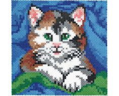 Create this adorable portrait of a kitten by connecting four large Perler square pegboards to make a bigger workspace. Make it a family time project!