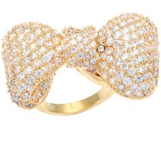 Kate Bissett 14k Gold Overlay Pave Cubic Zirconia Bow Fashion Ring ($36) ❤ liked on Polyvore featuring jewelry, rings, yellow, cz rings, yellow cz ring, wide band rings, cubic zirconia gold rings and band rings