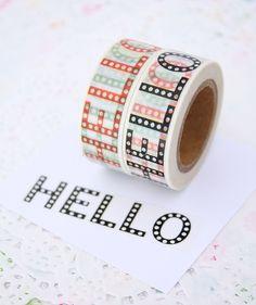 Hola Washi Tape - suministros de Scrapbooking - regalo embalaje - envases - 1 rodillo - mt 10 - listo para enviar de pingosdoceu en Etsy https://www.etsy.com/es/listing/399905541/hola-washi-tape-suministros-de