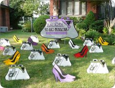 Click on 50 birthday lawn ornament.   http://www.hellopink.ca/lawncards.php#  Starting at just $90.00. Toronto and surrounding areas only. #party #ideas #50