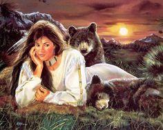 Native American Maija Art   Shades of Sunset by Maija   Fantasy Native American Art/ Love